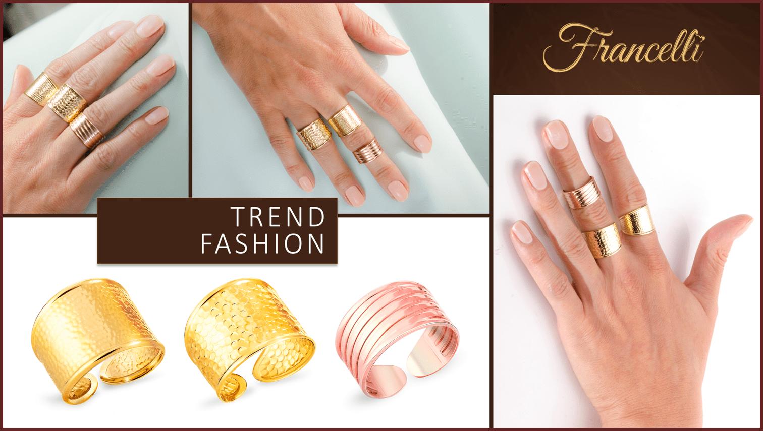 Незамкнутые кольца из желтого золота Francelli