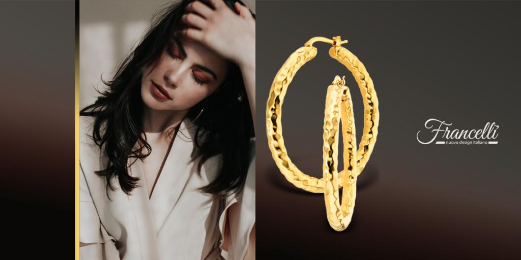 Золотые сережки-кольца в желтом цвете (арт. 107803/45ж)